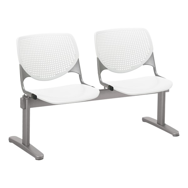 Energy Series Perforated Back Beam Seating w/ Two Seats - White