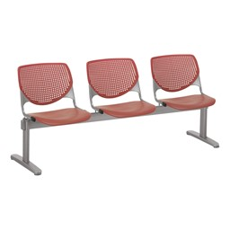 Energy Series Perforated Back Beam Seating w/ Three Seats - Coral