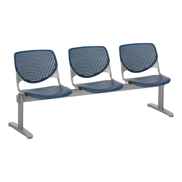 Energy Series Perforated Back Beam Seating w/ Three Seats - Navy