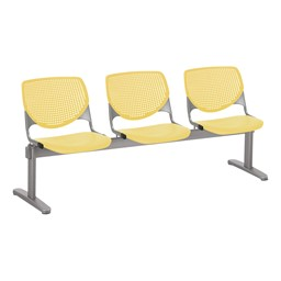 Energy Series Perforated Back Beam Seating w/ Three Seats - Yellow