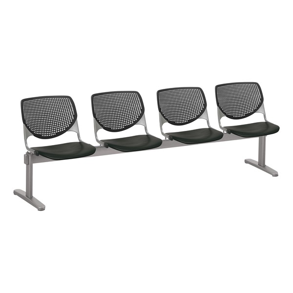 Energy Series Perforated Back Beam Seating w/ Four Seats - Black