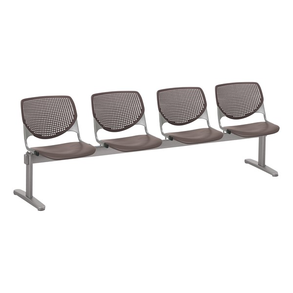 Energy Series Perforated Back Beam Seating w/ Four Seats - Brownstone
