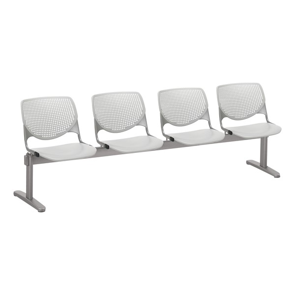 Energy Series Perforated Back Beam Seating w/ Four Seats - Light Gray