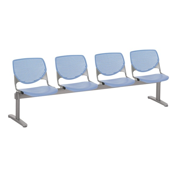 Energy Series Perforated Back Beam Seating w/ Four Seats - Periwinkle