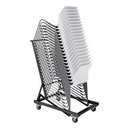 Dolly for Scholar Series Chairs shown with chairs stacked to full capacity