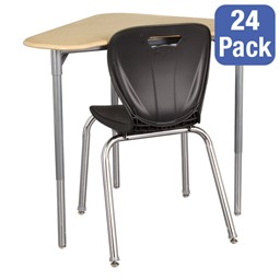 "Boomerang Collaborative Desk w/o Wire Box & 18"" Shape Series School Chair Set – 24 Desks/Chairs"