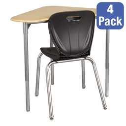 "Boomerang Collaborative Desk w/o Wire Box & 18"" Shapes Series School Chair Set – Four Desks/Chairs"