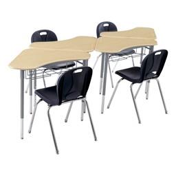 Boomerang Collaborative Desk w/ Wire Box - Sugar Maple - Group shot