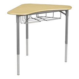 "Boomerang Collaborative Desk w/ Wire Box & 18"" Shapes Series School Chair Set – Four Desks/Chairs - Desk - Sugar maple"