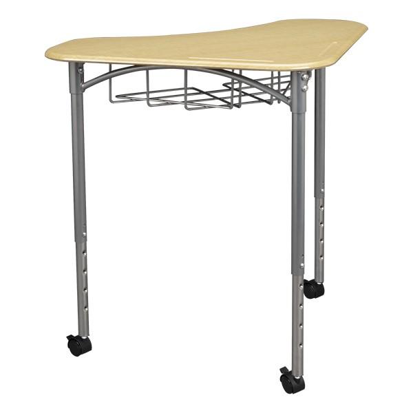 Boomerang Collaborative Desk w/ Wire Box - Sugar Maple - Pencil groove