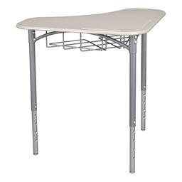 "Boomerang Collaborative Desk w/ Wire Box & 18"" Shapes Series School Chair Set – Four Desks/Chairs - Desk - Gray spectrum"