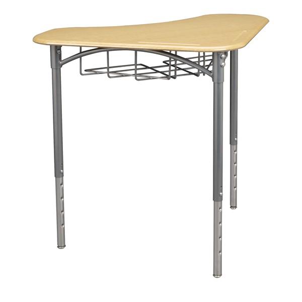 "Boomerang Collaborative Desk w/ Wire Box & 18"" Shapes Series School Chair Set – 16 Desks/Chairs - Desk - Sugar maple"