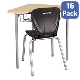"Boomerang Collaborative Desk w/ Wire Box & 18"" Shapes Series School Chair Set – 16 Desks/Chairs"