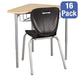 "Boomerang Collaborative Desk w/ Wire Box & 18\"" Shapes Series School Chair Set – 16 Desks/Chairs"