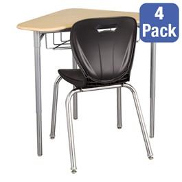 "Boomerang Collaborative Desk w/ Wire Box & 18\"" Shapes Series School Chair Set – Four Desks/Chairs"