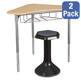 """Boomerang Collaborative Desk w/ Wire Box & 18\"""" Active Learning Stool Set"""