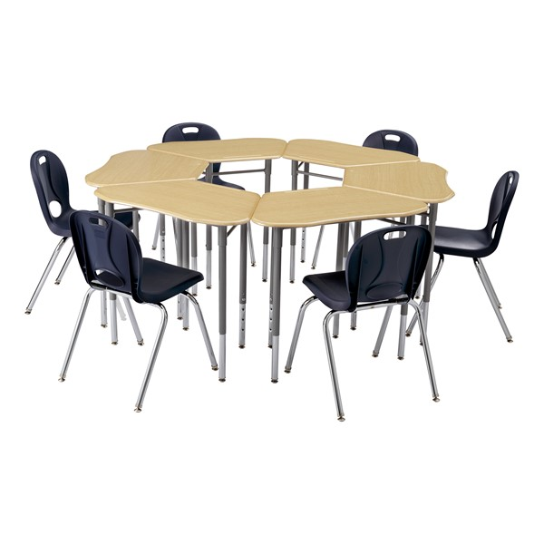 """Hex Collaborative Desk - Sugar Maple - Grouped (71 1/8"""" diameter) - Chairs not included"""