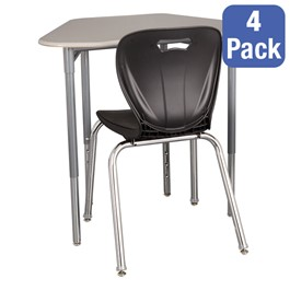 """Hex Collaborative Desk w/o Wire Box & 18\"""" Shapes Series School Chair Set – Four Desks/Chairs"""