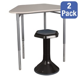"Hex Collaborative Desk w/o Wire Box & 18"" Active Learning Stool Set"