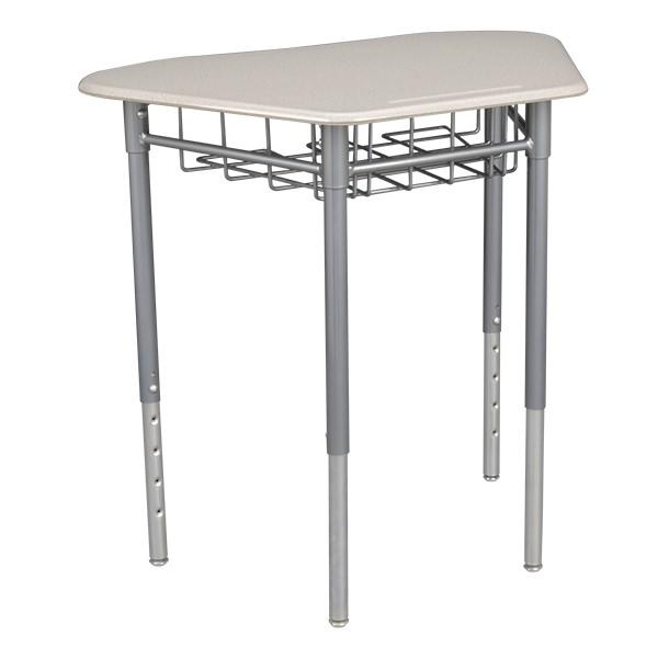 """Hex Collaborative Desk w/ Wire Box & 18"""" Shapes Series School Chair Set – Four Desks/Chairs - Desk"""