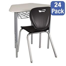 "Hex Collaborative Desk w/ Wire Box & 18\"" Shapes Series School Chair Set – 24 Desks/Chairs"