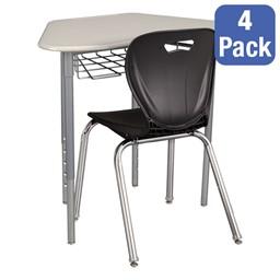"Hex Collaborative Desk w/ Wire Box & 18"" Shapes Series School Chair Set – Four Desks/Chairs"