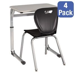 "Rectangle Cantilever Desk w/ Curved Edge & 18\"" Shapes Series School Chair Set – Four Desks/Chairs - Desk"