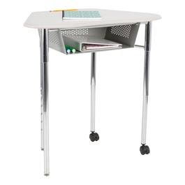 Hex Collaborative Desk w/ XL Perforated Metal Book Box & Chrome Upper Frame w/ Glides & Casters