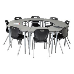 "Trapezoid Collaborative Desk & 18"" Shapes Series School Chair Set – Four Desks/Chairs - Grouped"