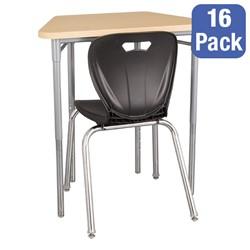 "Trapezoid Collaborative Desk & 18"" Shapes Series School Chair Set – 16 Desks/Chairs"