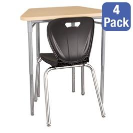 "Trapezoid Collaborative Desk & 18\"" Shapes Series School Chair Set – Four Desks/Chairs"