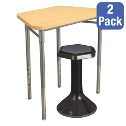 """Trapezoid Collaborative Desk & 18"""" Active Learning Stool Set"""
