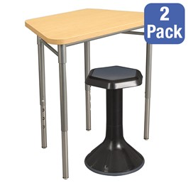 "Trapezoid Collaborative Desk & 18"" Active Learning Stool Set"