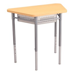 """Trapezoid Collaborative Desk w/ Perforated Metal Book Box & 18"""" Active Learning Stool Set - Desk"""