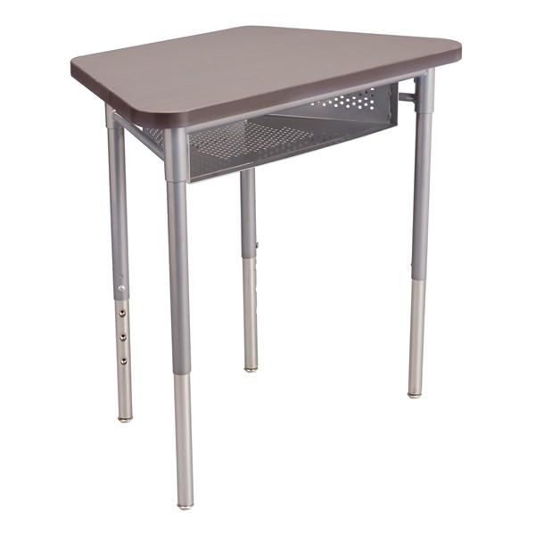 "Trapezoid Collaborative Desk w/ Perforated Metal Book Box & 18"" Shapes Series School Chair Set – 16 Desks/Chairs - Desk - Cosmic strandz"