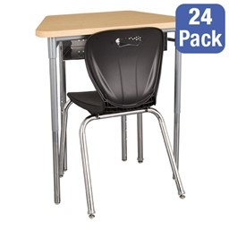 """Trapezoid Collaborative Desk w/ Perforated Metal Book Box & 18"""" Shapes Series School Chair Set – 24 Desks/Chairs"""