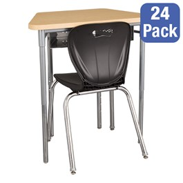"""Trapezoid Collaborative Desk w/ Perforated Metal Book Box & 18\"""" Shapes Series School Chair Set – 24 Desks/Chairs"""
