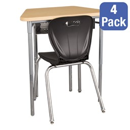 """Trapezoid Collaborative Desk w/ Perforated Metal Book Box & 18"""" Shapes Series School Chair Set – Four Desks/Chairs"""