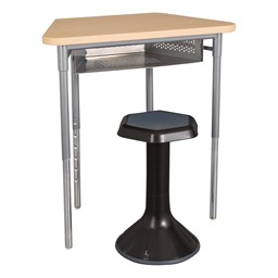 """Trapezoid Collaborative Desk w/ Perforated Metal Book Box & 18"""" Active Learning Stool Set"""