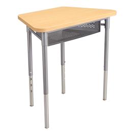 Trapezoid Collaborative Desk w/ Perforated Metal Book Box