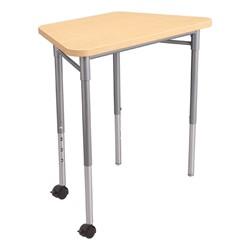 Trapezoid Collaborative Desk and 18-Inch Profile Series School Chair Set - Desk - Sugar Maple - Shown w/ Casters