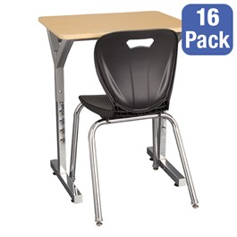 "Adjustable-Height Y-Frame Desk & 18"" Shapes Series School Chair Set – 16 Desks/Chairs"