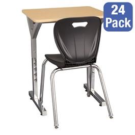 "Adjustable-Height Y-Frame Desk & 18\"" Shapes Series School Chair Set – 24 Desks/Chairs"