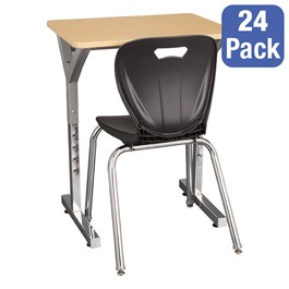 "Adjustable-Height Y-Frame Desk & 18"" Shapes Series School Chair Set – 24 Desks/Chairs"