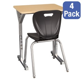 """Adjustable-Height Y-Frame Desk & 18\"""" Shapes Series School Chair Set – Four Desks/Chairs"""