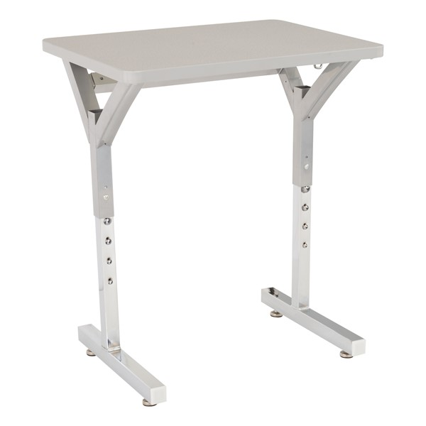 Adjustable-Height Y-Frame Desk and 18-Inch Profile Series School Chair Set - Desk - Gray Spectrum