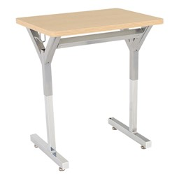 Adjustable-Height Y-Frame Desk and 18-Inch Profile Series School Chair Set - Desk - Sugar Maple