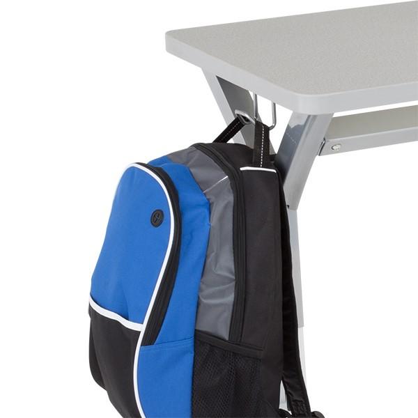 Adjustable-Height Y-Frame Desk and 18-Inch Profile Series School Chair Set - Desk - Backpack Hook