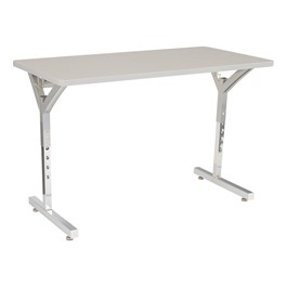 Adjustable-Height Y-Frame Two Student Desk - Gray Spectrum