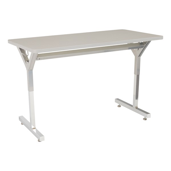 Adjustable-Height Y-Frame Two-Student Desk and 18-Inch Profile Series School Chair Set - Desk - Gray Spectrum
